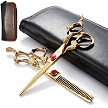 2pcs/Set Professional Edger 6 Inch Barber Hair Cutting Thinning Razor/Scissors/Shears Kit Sharp With Leather Case-Japan 440c Stainless Steel-Home or Hairdresser Use