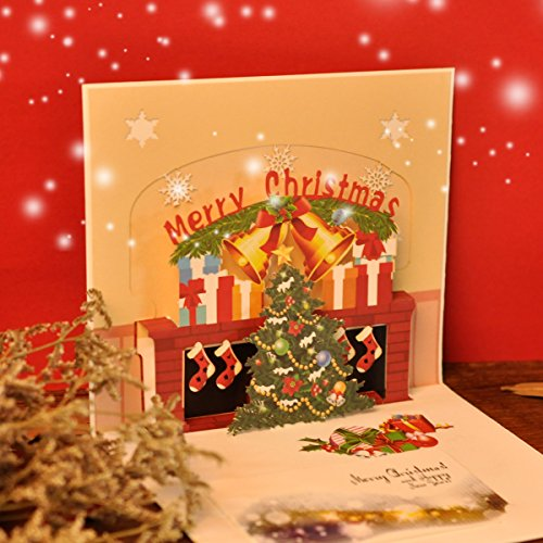 eZAKKA 3D Christmas Cards Pop Up Holiday Greeting Gifts Cards with Envelopes for Xmas Merry Christmas New Year, 5-Pack Photo #6