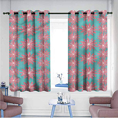 VIVIDX Indoor/Outdoor Curtains,Outdoor,Lively Garden,Hipster Patterned,W63x45L
