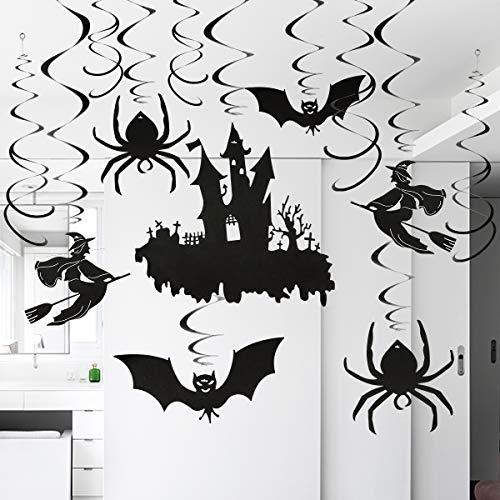 Home Kitty 30 Ct Halloween Party Swirl Ceiling Hanging and Wall Decoration -Creepy Bats/Spiders/Witches Ceiling