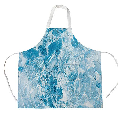 Cotton Linen Apron,Two Side Pocket,Marble,Shady Rock Surface Pattern Hand Drawn Ink Marbling Trendy Background Artsy Print Decorative,Light Blue,for Cooking Baking Gardening ()