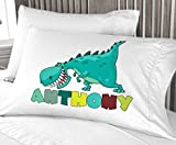 Personalized Cute Dinosaur Boys Pillow Case - ( Standard Size 20X30 ) Christmas gift Birthday Gift idea for boys kids room decor