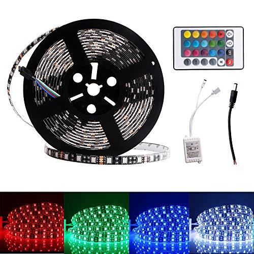 - EverBrightt DC 12V 1 Set RGB 5M 5050 300SMD LED Waterproof Flexible Strip Light PCB Black for Car Truck Neon Undercar Lighting House Decoration Stage Music Colorful Lights with 24 Key Remote