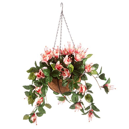 (OakRidge Fully Assembled Artificial Fuchsia Hanging Basket, Pink – Polyester/Plastic Flowers in Metal/Coco Fiber Liner Basket for Indoor/Outdoor)