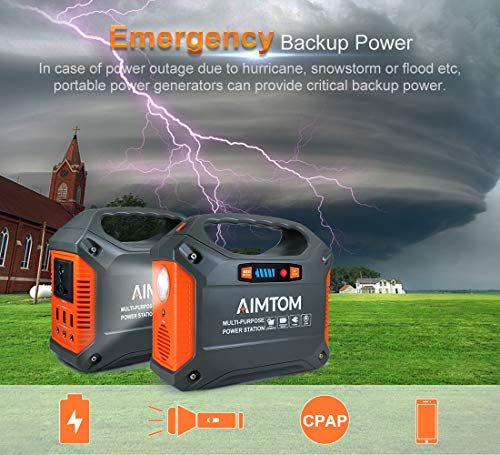 AIMTOM Portable Solar Generator, 42000mAh 155Wh Power Station, Emergency Backup Power Supply with Flashlights, for Camping, Home, CPAP, Travel, Outdoor (110V/ 100W AC Outlet, 3X 12V DC, 3X USB Output)