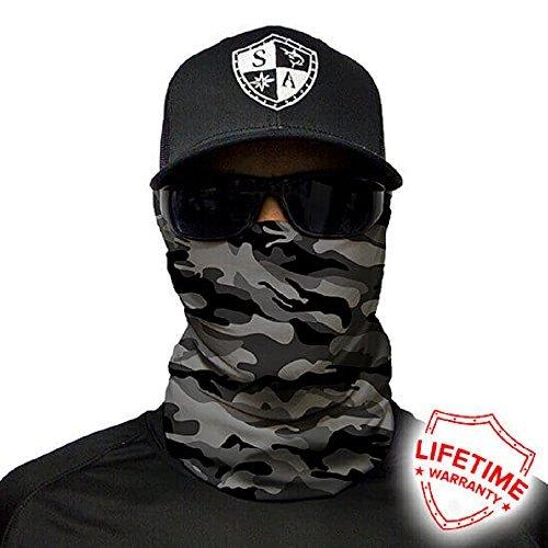 Salt Armour Face Mask Shield Protective Balaclava Bandana Microfiber Tube Neck Warmer (Grey Military Camo) by SA Company