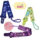 HnyBaby Pacifier Holder with Plastic Clip Universal fit to Pacifiers Soother Pacifier Leash Teether (Jungles)
