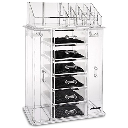 Miusco Jewelry Box and Makeup Organizer Set, 24 Slots, Clear