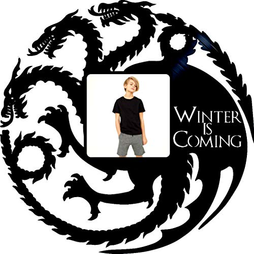 (Dragons Design -Picture Frame- Dragons Picture Frame Winter is Coming Art - Game of Thrones Vinyl Record Frame - Original Birthday Gift - Home Decor - House Stark Decor Art - Gift Game of Thrones )