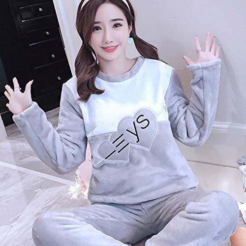 Homewear Coral Ropa Jylw Mujeres Gray Las Mujer De Conjuntos Grueso Invierno Casual Traje Terciopelo Cálido Dormir 1314 Pijamas ZwP7rxZB