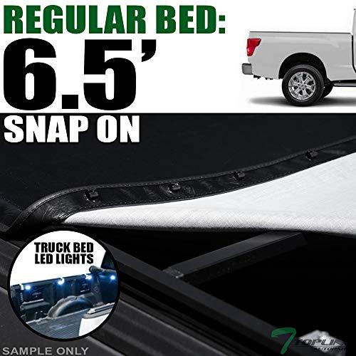 - Topline Autopart Hidden Snap On Soft Vinyl Tonneau Cover & Truck Bed LED Lighting System For 16-19 Nissan Titan/XD 6.5 Feet (78