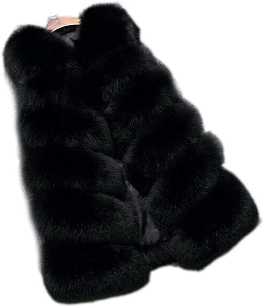 FOLOBE Chaqueta de Abrigo de Piel sintética de Abrigo de Piel de Invierno para Mujer