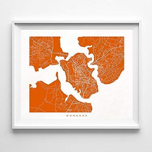 Amazon Com Mombasa Kenya Street Road Map Home Decor Poster