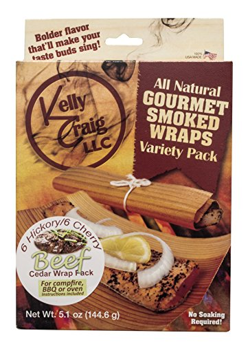 Kelly Craig 6812 Beef Grill Wraps, Cedar, Natural Organic Replenishable Wood, Made in America, Set Includes 6 Hickory / 6 Cherry