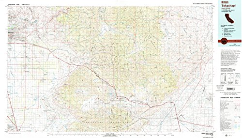 Tehachapi CA topo map, 1:100000 scale, 30 X 60 Minute, Historical, 1978, updated 1993, 24.1 x 42.3 IN - - Map Arvin Ca