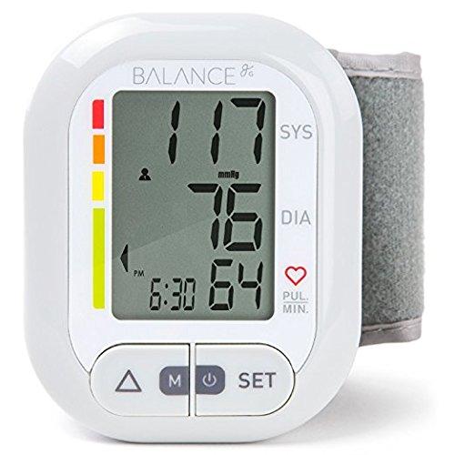 Circumference Upper Arm - Balance Wrist Blood Pressure Monitor, Ultra Portable High Accuracy Readings with Easy-to-Read LCD, Two User Support and 2-Year Warranty