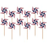 """Amscan Patriotic Pinwheel in Wooden Picks 4th of July Party Supply and Decoration, Paper, 3"""", Pack of 20"""