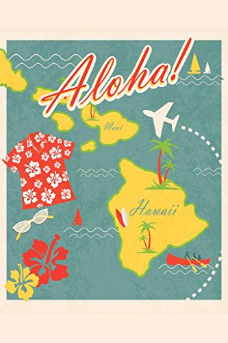 Aloha Retro Hawaiian Vintage Travel Art Print Poster 12x18 inch