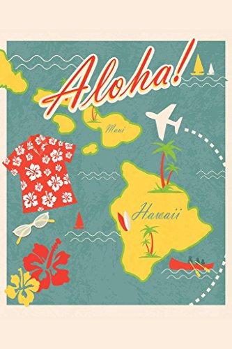 Aloha Retro Hawaiian Vintage Travel Art Print Poster 12x18 inch