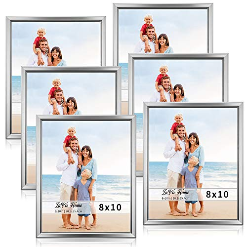 (LaVie Home 8x10 Picture Frames (6 Pack, Silver) Simple Designed Photo Frame with High Definition Glass for Wall Mount & Table Top Display, Set of 6 Classic Collection)