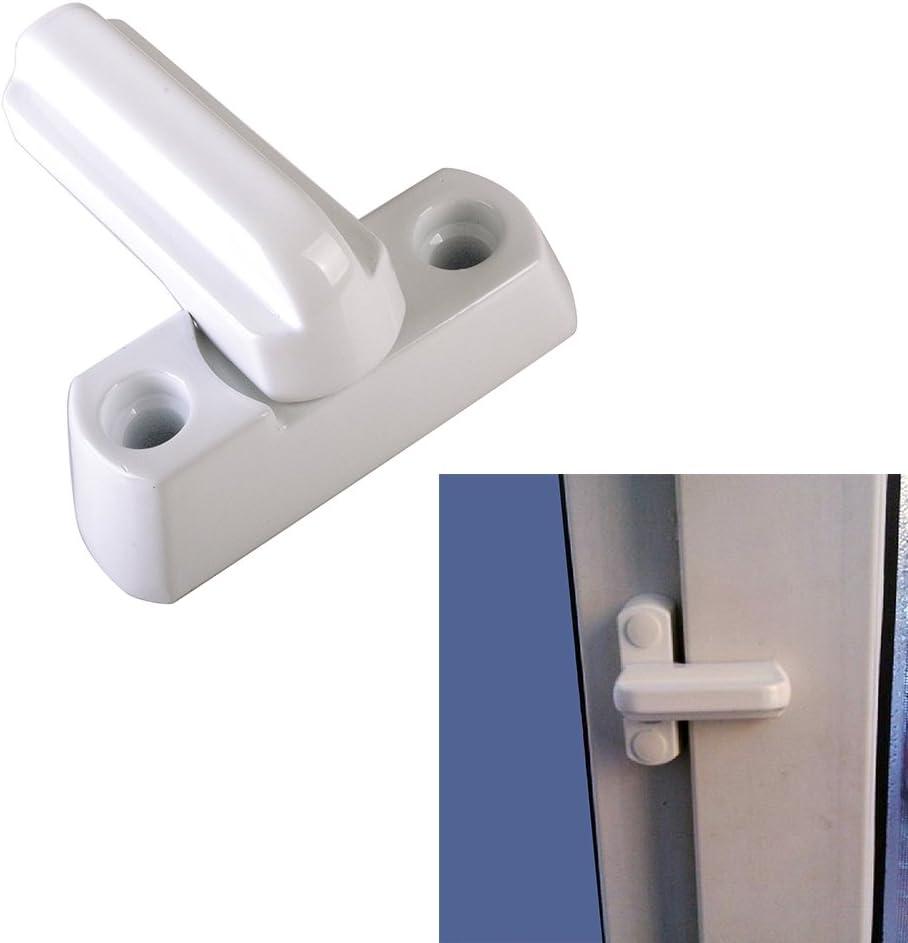 4 unidades seguridad adicional para puertas de UPVC color blanco Malayas Pestillo para bloqueo de ventanas