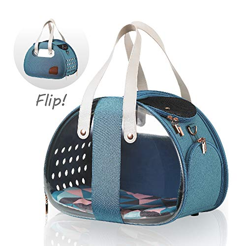 (ibiyaya Top Loaded Pet Carrier for Cats and Dogs, Collapsible Made from Suitcase Material a Great Alternative to pet Kennel and Dog Carrier Purse (Turquoise))