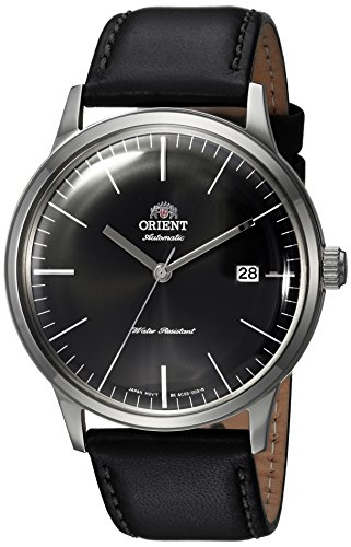 Orient Men's '2nd Gen. Bambino Ver. 3' Japanese Automatic Stainless Steel and Leather Dress Watch, Color:Black (Model: FAC0000DB0)