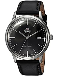 Men's '2nd Gen. Bambino Ver. 3' Japanese Automatic Stainless Steel and Leather Dress Watch, Color:Black (Model: FAC0000DB0)