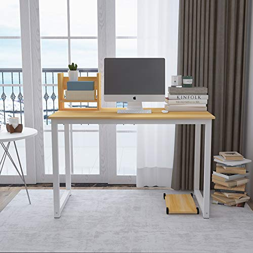 Ansley&HosHo I Shape Desktop Computer Writing Table Study Desk for Student on Dorm Library Reception Desk Utility Table Office Conference Meeting Table with Free Desktop Bookshelf & CPU Stand (Walnut) by Ansley&HosHo