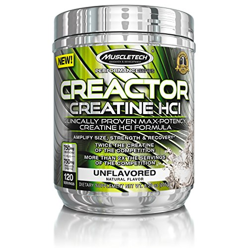 MuscleTech Creactor, Max Potency Creatine Powder, Micronized Creatine and Creatine HCl, Unflavored, 120 Servings (235g) (Powder Super Creatine)