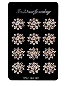 ZAKI L'vow Crystal Floriated Brooches Scarves Buckle Collar Pin Corsage Bouquet Kit Pack of 12 (gold H)