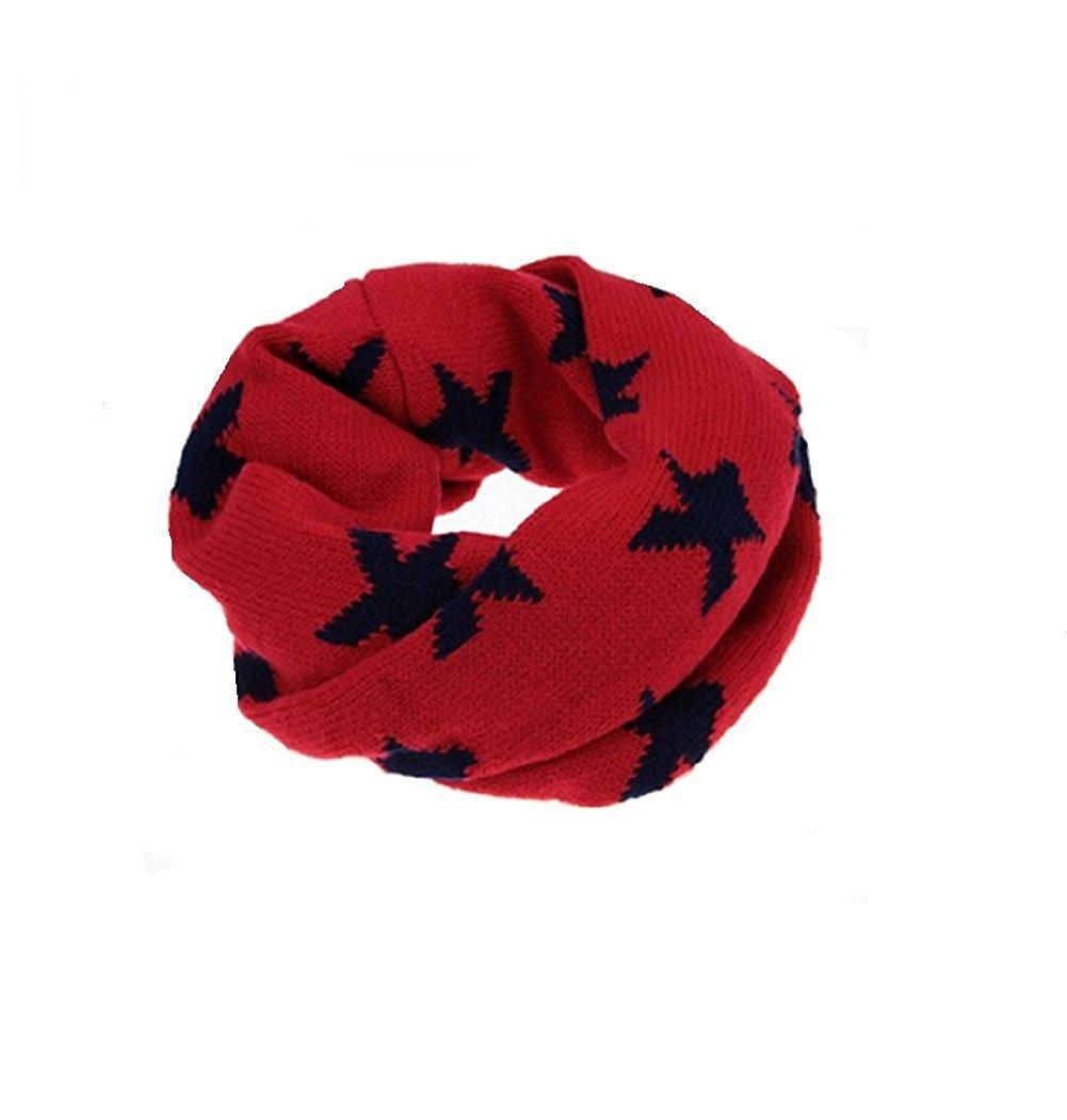 tininna bébé enfants hiver Loop Écharpe Avec Motif étoiles rond écharpe écharpe en tricot rot