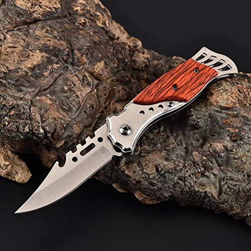 2 pcs Assisted Open Folding Knife Speed Safe Button Lock Camping Hunting Survival Pocket Knife Silver Stainless Steel w/Brown Wood Handle Small