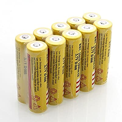Sunbeauty®10Pcs 18650 3.7V 5000mAH Rechargeable Lithium Battery Yellow