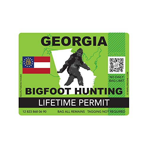fagraphix Georgia Bigfoot Hunting Permit Sticker Die Cut Decal Sasquatch Lifetime FA Vinyl - 4.00 Wide