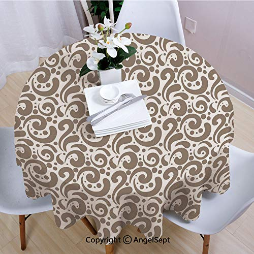 AngelSept Polyester Round Tablecloth,Swirled Curved Bold Lines Brushstrokes Big and Little Polka Dots Circular Abstract,70