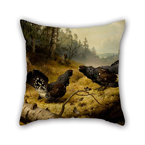 Chairs Ferdinand Best - Artistdecor Oil Painting Ferdinand Von Wright - The Fighting Capercaillies Pillowcover ,best For Drawing Room,chair,kids Room,chair,boys,floor 18 X 18 Inches / 45 By 45 Cm(twin Sides)