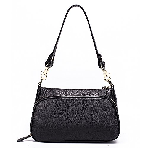 with Leather Sathcels Bags Women for Crossbody Miyaco Genuine Black Zipper Purses Shoulder Aq5Znzw