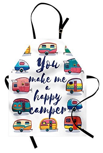 Lunarable Camper Apron, You Make Me Happy Camper Motivational Quote with Caravans Retro Style Travel Graphic, Unisex Kitchen Bib Apron with Adjustable Neck for Cooking Baking Gardening, (Happy Camper Costumes)