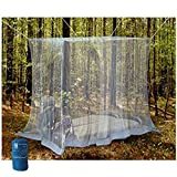 EVEN NATURALS Luxury Mosquito Net for Bed Canopy, Tent for Single to Twin XL Size, Finest Holes: Mesh 380, Square Netting Curtain for Bunk Bed, 1 Entry, Easy Installation, Storage Bag, No Chemicals