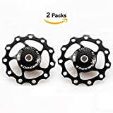 11T Jockey Wheel 2 PCS FOMTOR Aluminum Bicycle Rear Derailleur Pulley Guide Wheel for Shimano Sram (Black)