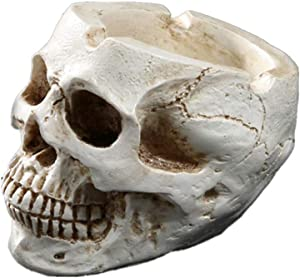 Mini ashtray Resin Human Skull Ashtray Home Ornaments for Scary Halloween Decorations,Decorative Skulls,Skeletons Figurines for Bar Accessories,Smoking Room Decor for Smokers