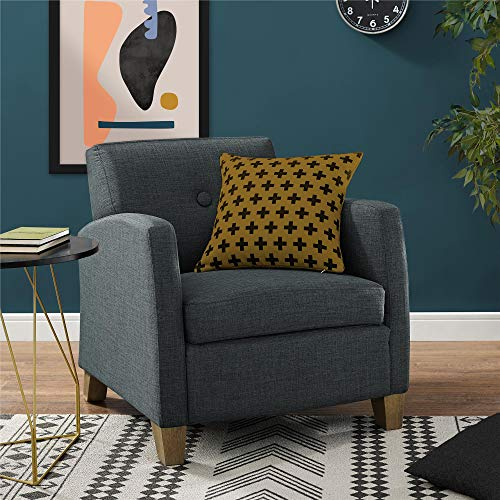 REALROOMS Karissa Modern Upholstered Accent Arm Chair, Charcoal