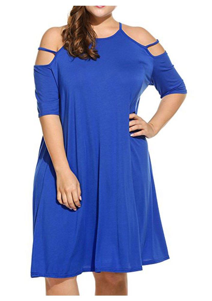Durcoo Women Plus Size Cold Shoulder Shirt Dress Strap Short Sleeve Top Tunics Blue 3XL