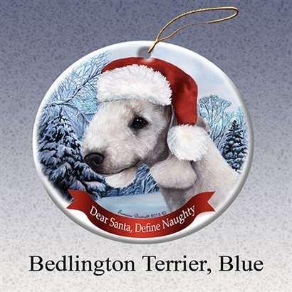 Holiday Pet Gifts Bedlington Terrier (Blue) Santa Hat Dog Porcelain Christmas Tree (Bedlington Terrier)