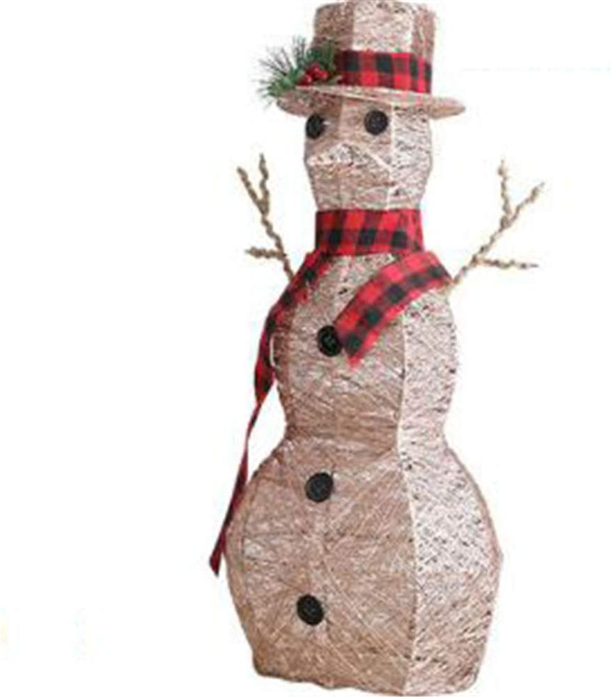 NBZLY Iron Light Snowman Decoration with Led, for Indoor and Outdoor Spaces, Home, Front Porch and Store Decoration, Outdoor Christmas Lawn Decoration