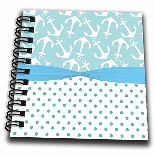 3dRose Anne Marie Baugh - Patterns - Cute Light Blue Polka Dots and Sailing Anchors - Mini Notepad 4 x 4 inch (db_274082_3)