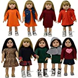 18 Inch Doll Clothes Set of 10 pc for American Girl Doll Clothing - fits 18 inch Dolls