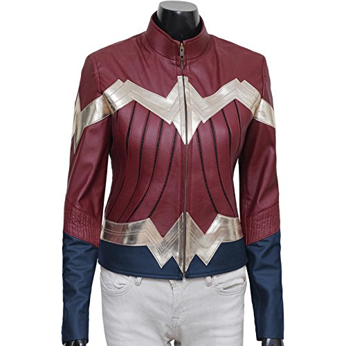 Bvs Costume Woman Wonder (Wonder Woman 2017 Costume Ideas Iconic Synthetic Leather Jacket For Womens)