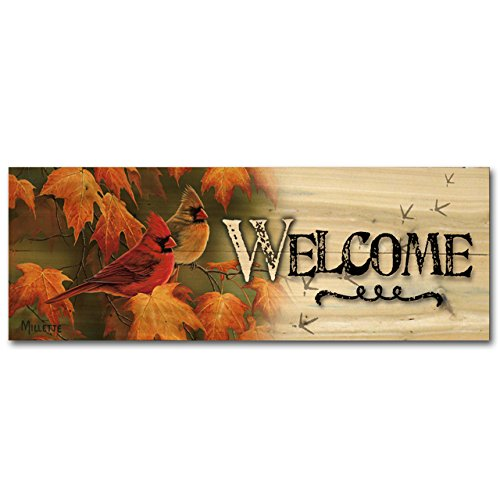 picture of WGI-GALLERY 248 Welcome Maple Leaves and Cardinals Wooden Wall Art